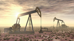 Oil pumps. Computer generated 3D illustration with oil pumps Stock Photos