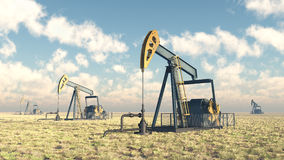 Oil pumps. Computer generated 3D illustration with oil pumps Stock Photo