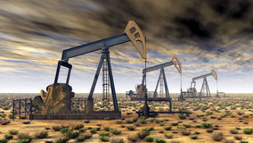 Oil pumps. Computer generated 3D illustration with oil pumps Stock Images