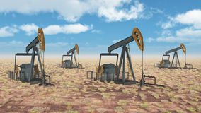 Oil pumps. Computer generated 3D illustration with oil pumps Royalty Free Stock Image