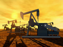 Oil Pumps. Computer generated 3D illustration with Oil Pumps at sunset Stock Images