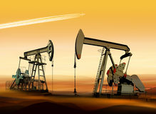 Oil pumps in desert Stock Photo