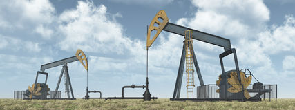 Oil pumps in a landscape. Computer generated 3D illustration with oil pumps in a landscape Stock Images