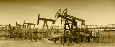 Oil pumps on a oil field. Stock Photography