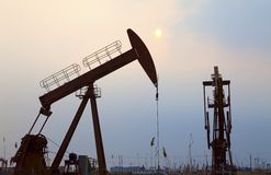 Oil pumps. Oil industry equipment. Stock Images