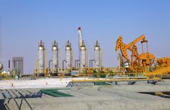 Oil pumps. Oil industry equipment. Royalty Free Stock Photos