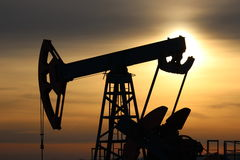 Oil pumps Sunset Stock Image