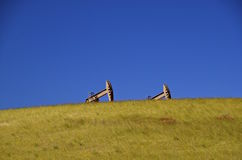 Oil pumps in western North Dakota stock photography