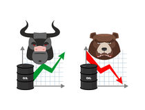 Oil quotations increase. Barrel of oil declines. Bull and bear. Business graph. Traders in securities market. Players on the Exchange. Green arrow and red stock illustration