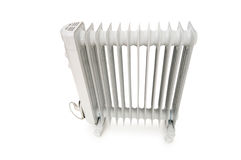 Oil radiator isolated on the white Stock Images