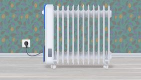 Oil radiator in room with wallpaper. White, electric oil filled heater on light wooden floor. Domestic electric heater Royalty Free Stock Image