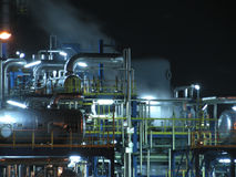 Oil rafinery. Oil refinery construction at night stock image