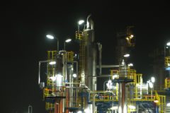 OIL RAFINERY. An oil refinery construction at night royalty free stock photos
