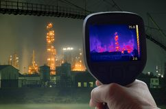 Oil Rafinery Infrared. Thermal Imaging Supervision of Oil Refinery Royalty Free Stock Photo