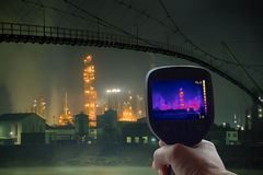 Oil Rafinery Infrared. Thermal Imaging Supervision of Oil Refinery Royalty Free Stock Photos