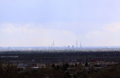 Oil rafinery seen from distance. In Ploiesti, Romania stock image