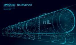 Oil railway cistern 3D render low poly. Fuel petroleum finance industry diesel tank. Cylinder railroad wagon train. Gasoline logistic economical business vector illustration