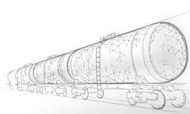 Oil railway cistern 3D render low poly. Fuel petroleum finance industry diesel tank. Cylinder railroad wagon train. Gasoline logistic economical business stock illustration