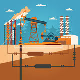 Oil recovery, oil rig, oil industry set with extraction refinery transportation petroleum vector illustration Stock Images