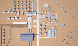 Oil recovery plant in the desert. Top view. 3d rendering Stock Photos