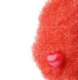 Oil red heart on salt Stock Photo
