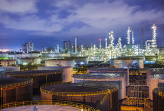 Oil refinary industry. Landscape of oil refinary industry with oil storage tank Stock Photo