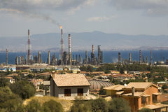 Oil refinery. In the Gulf of Cagliari, Sardinia Stock Photos