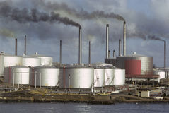 Oil refinery #2. Oil refinery spewing toxic smoke off the coast of Mexico stock images