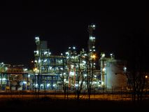 Oil refinery. Night oil refinery, night scene, light and oil refinery construction royalty free stock photography