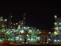 Oil refinery. Night oil refinery, night scene, light and oil refinery construction royalty free stock images