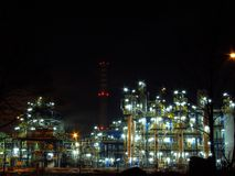 Oil refinery. Night oil refinery, night scene, light and oil refinery construction royalty free stock photos