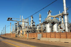 Oil Refinery. Distillation units of oil refinery plant Royalty Free Stock Images