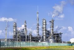 Oil Refinery. Equipment at an oil refinery facility Royalty Free Stock Photography