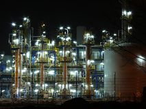 Oil refinery. Night oil refinery, night scene, light and oil refinery construction stock photography