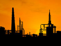 Oil refinery. Factory over sunrise royalty free illustration