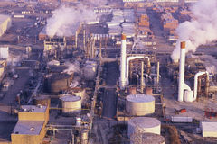 Oil refinery. Aerial view of an oil refinery Royalty Free Stock Photography
