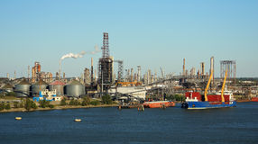 Oil refinery. And cargo transport ships Royalty Free Stock Photo