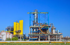 Oil refinery. View of oil petrochemical refinery pipes with clear blue sky Stock Images