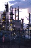 Oil refinery. Detail of an oil refinery early in the morning royalty free stock photo