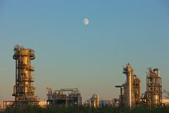 Oil refinery. Moonlight over an oil refinery Royalty Free Stock Images