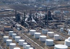 Oil Refinery Aerial. Steaming Oil Refinery located in the midwest United States Stock Photo