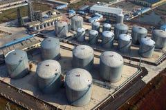 Oil refinery aerial. Stock Photos