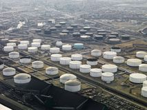 Oil refinery aerial. Royalty Free Stock Photos