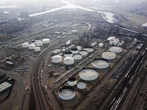 Oil refinery aerial. Royalty Free Stock Image