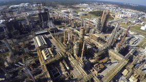 Oil refinery aerial drone video stock video footage