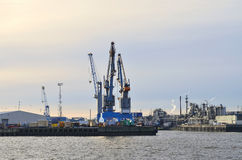 Oil refinery along the Elbe river in Hamburg Stock Photo