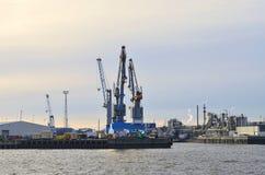Oil refinery along the Elbe river in Hamburg Stock Photo