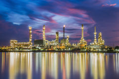 Oil refinery along the river at Dusk (Bangkok, Thailand) Stock Image