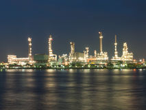 Oil refinery. Along the river at night Stock Image
