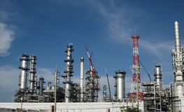 Oil refinery with blue sky Stock Photo